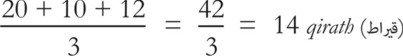 (20+10+12)/3 = 42/3 = 14 qirath